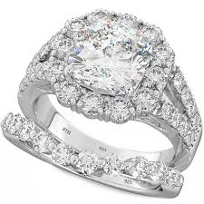silver bridal rings images Cushion cut cz halo 925 silver wedding engagement bridal ring set jpg