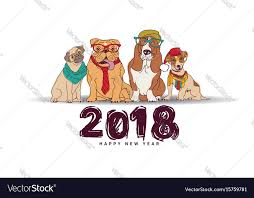 happy new year card doodles happy new year card 2018 dogs isolate vector image