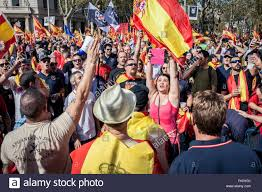 anti independence catalan protestors carry spanish flags during a