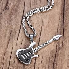 guitar pendant necklace images Cool men boys black electric guitar pendant necklace stainless jpg