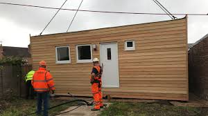first uk micro home delivered to worcester back garden by crane