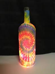 tie dye themed wine bottle lamp tie dye nightlight accent