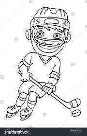 cartoon vector outline illustration ice hockey stock vector