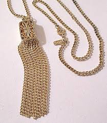 gold tone chain necklace images Monet square box tassel necklace gold tone vintage curb link chain jpg