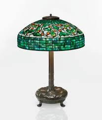 stained glass l bases tiffany studios swirling oak leaf table lamp shade impressed