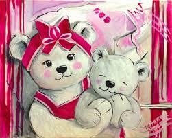 tableau pour chambre bébé fille peinture ourson fille fuchia vente tableau ourson pour déco de