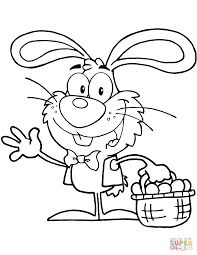 waving bunny with easter eggs and basket coloring page free