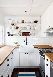 countertops white hanging open shelves butcher block countertops