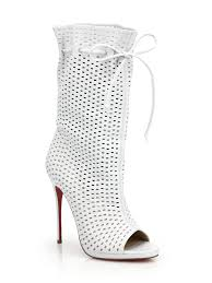 christian louboutin jennifer perforated leather open toe boots in