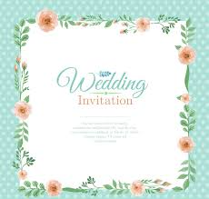 colored flowers border wedding invitation card design vector