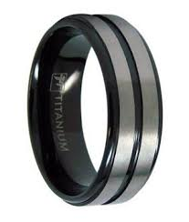 titanium wedding bands 8mm men s black titanium wedding ring with two satin bands