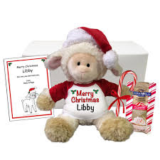 personalized christmas gifts personalized christmas lamb stuffed animal holiday gift set say