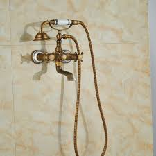 Antique Brass Bathroom Faucet by Cullasaja Antique Brass Finish Telephone Hand Shower With Bathtub