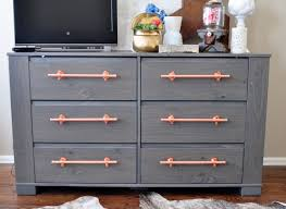 cute pink accent at diy drawer which is painted in cool grey and