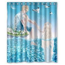 Teal Bird Curtains Mermaid Blue Water Moon And Bird Custom Curtain Fabric Bathroom