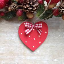 wooden spotty christmas heart christmas tree decoration ornament