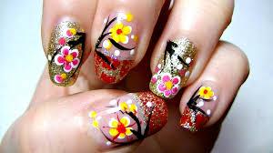 lunar chinese new year nail art tutorial youtube