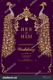 Indian Wedding Invitations Cards Indian Wedding Invitation Card Templates Gold Stock Vector