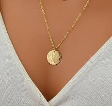 gold monogrammed necklace large disc necklace monogram necklace gold necklace circle