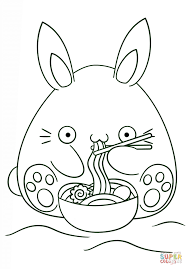 kawaii bunny eats noodle coloring page free printable coloring pages