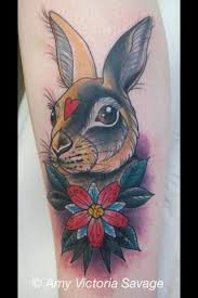 colorful rabbit head with flower tattoo design by amy victoria savage