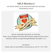 thanksgiving canned food drive at hbca hbca of brevard