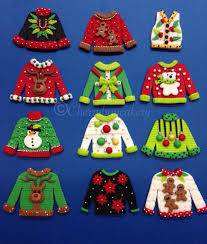 ugly christmas sweater cupcake toppers fondant christmas
