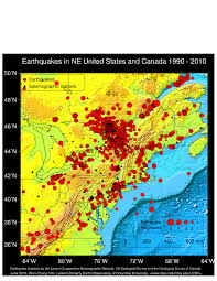 Map Fault Lines United States by Lamont Doherty Cooperative Seismographic Network