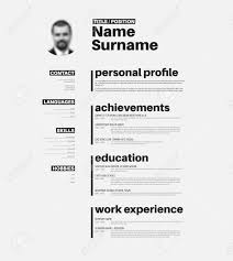 vector minimalist cv resume template with nice typogrgaphy
