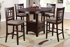 5 Chair Dining Set Poundex 5 Counter Height Dining Set In Rosy Brown F2345