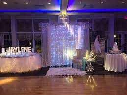 backdrop for a princess winter sweet 16 winter