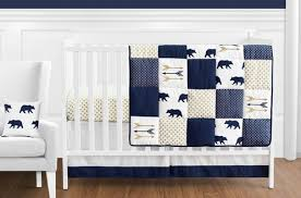 navy blue gold and white patchwork big bear boy baby crib