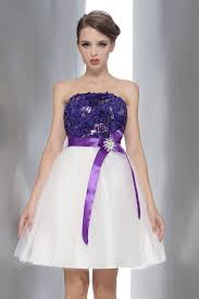 purple dresses for weddings purple white dresses wedding party waist with a bow nm 0169
