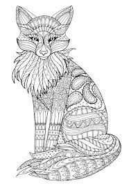fox zentangle animal coloring pages for adults pinterest