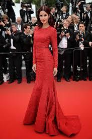 katrina kaif red lace long sleeve trumpet celebrity evening dress