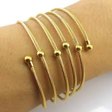 bangle charm bracelet gold images New 2016 yellow gold color twist wire mesh hand bangle charm jpg