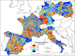 Map Of Spain And Italy by Heat Map Of The Normalized Logarithmic Turnout Rate For The 2004