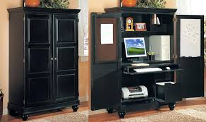 Riverside Home Office Furniture Breathtaking Black Computer With Computer And Printer Inside