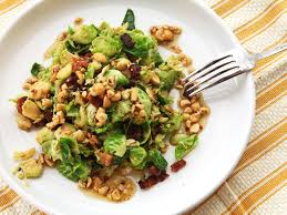 warm brussels sprout salad with bacon and hazelnut vinaigrette