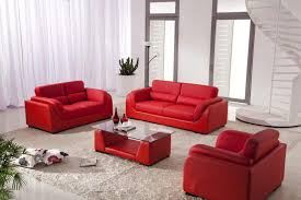 Red Living Room Chair Colorful Carpet And Brown Sidetable Close To Red Sofa Set Living