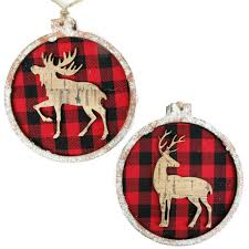 plaid wood moose deer ornament 100 mm at home at home