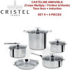 cristel cuisine casteline batterie de cuisine set de 9 4 pièces amovible