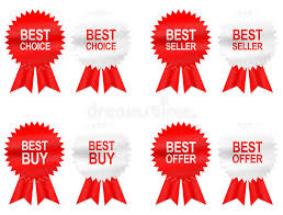 buy ribbon 8 best buy choice offer and seller labels with ribbon stock photo