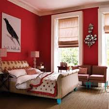 decorating interior painted bedroom wall mixed red plaid