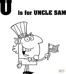 letter u is for uncle sam coloring page in coloring pages eson me