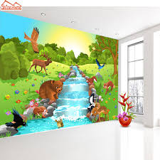 shinehome cartoon animal world by river custom wallpapers 3d kids