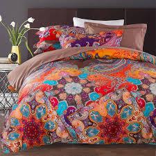 Rust Comforter Set Rust Orange Purple And Blue Vintage Boho Style Tribal Print