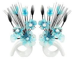 Vases With Fake Flowers Flourish 794279 Qh1 Matching Pair Of Silver Vases With Teal Blue