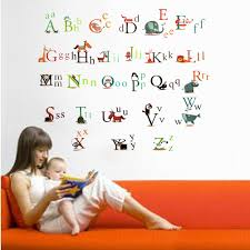 high quality alphabet wall stickers promotion shop for high pvc removable wall sticker paper 26 animals design alphabet baby kids nursery room educational diy window door decal home decor