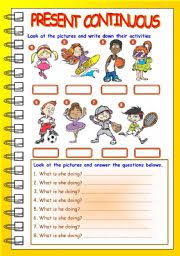 esl kids worksheets present continuous exercises